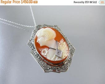 ANNUAL CAMEO SALE Vintage Art Deco 10k white gold filigree Flapper girl bobbed hair diamond habille cameo brooch pin pendant necklace roarin