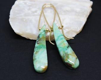Dangle Drop Earrings, Gold Filled Earrings, Chrysocolla Gemstone, Simple Earrings, Green Brown Gemstone, Fancy Teardrop Earrings, E16137