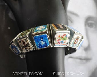 Bracelet Portugal 24 Tiles Antique Azulejo  - History on your wrist!  Tiles from convents, churches, houses OOAK - Stretchy - Ships from USA