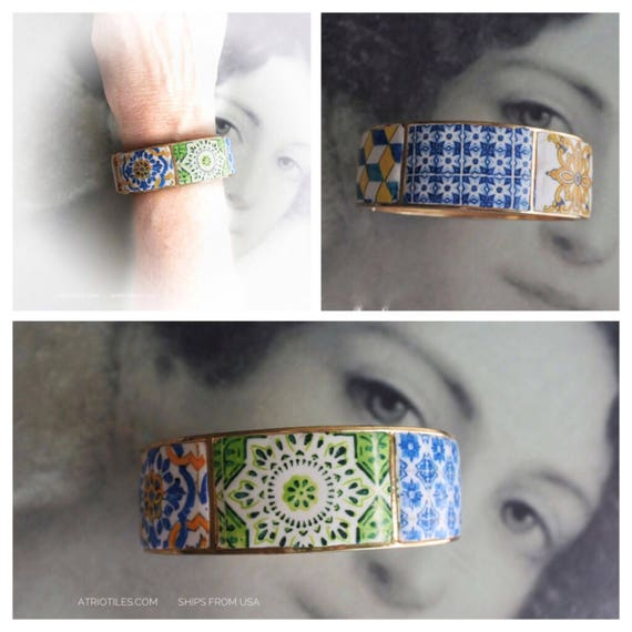 Bracelet Portugal Tile Azulejo 6  Bangle  -  Porto Ericeira  Jeans Bohemian Cuff Chunky - Ships from USA