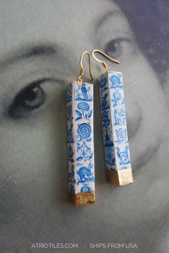Earrings Portugal Tile Azulejo 16th Century Portuguese  Coimbra Blue Delft Majolica Whimsical animals - Gold Leaf - Ships from USA