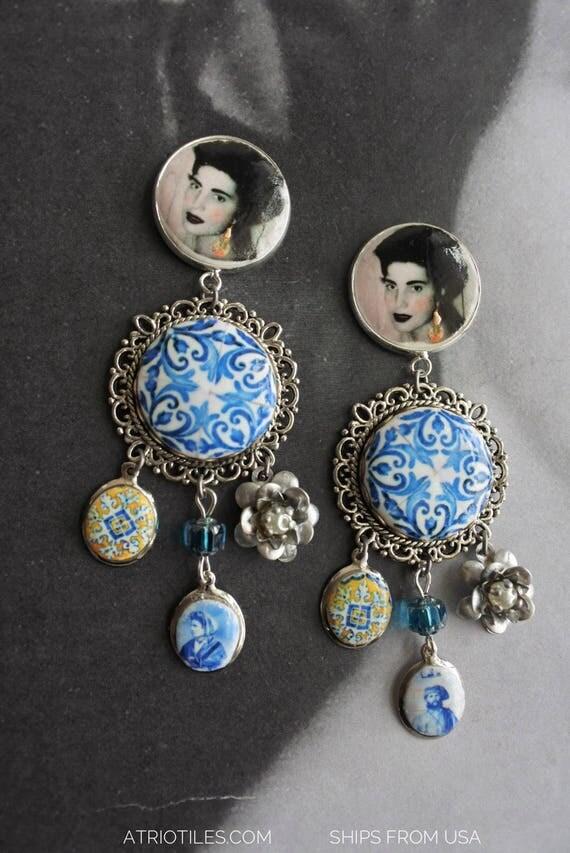 Amália Portugal Earrings Fado Azulejo Tile - Church of Mercy PoRTO 1590 Majolica Baroque - Queen of Fado Portuguese Post Stud