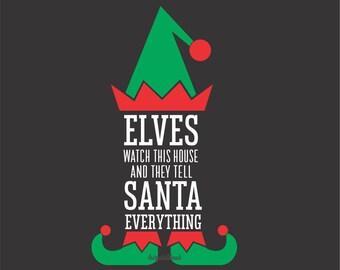 Elf Sign Decal, Christmas sign, Elf watching, Decal for Chalkboard, Elf on a Shelf, Vinyl Sticker, Santa Elves, Funny Sign, Vinyl Decal New