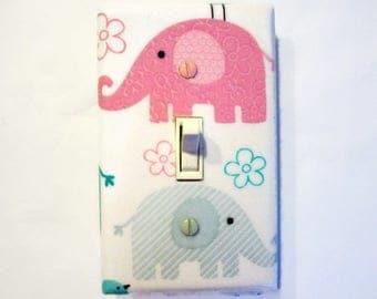 Elephant Light Switch Cover - Pink Grey Nursery Decor - Elephant Switch Plate - Baby Girl Elephant Decor - Elephant Nursery Decor - Jungle