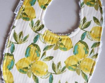 Baby Bib - Lemons on White Chenille
