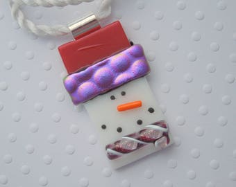 Snowman Jewerly - Christmas Ornament - Dichroic Fused Glass Pendant - Christmas Pendant- Snowman Necklace - Christmas Jewelry X1269