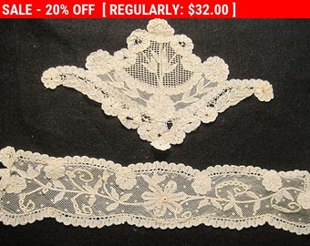 Antique Edwardian Lace Applique Trim Tulle Net