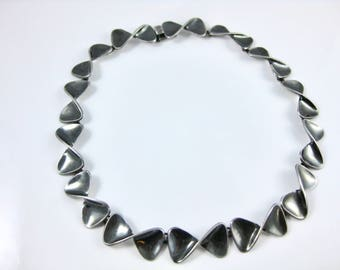 Vintage Sigi Taxco Mexico Sterling Silver Bowie Tie Choker Necklace
