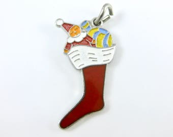 Vintage Wells Sterling Silver Enamel Christmas Stocking Charm