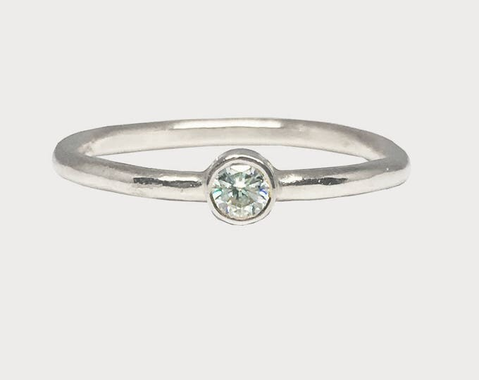 You Are My Wishing Star_ 14K White Gold Solitaire Diamond Engagement Ring