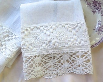 """Linen Hand Towel with Vintage Cluny Bobbin Lace and Lacy Trim 28"""" x 17.5 """" OOAK"""