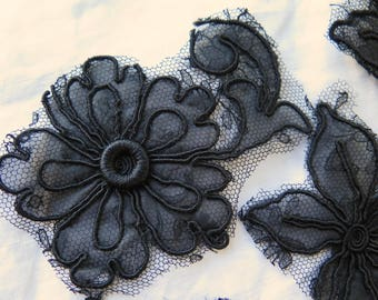 Antique Silk Appliques in Organza and Chantilly Lace Assorted Set of 6 Flowers Dress Remnants