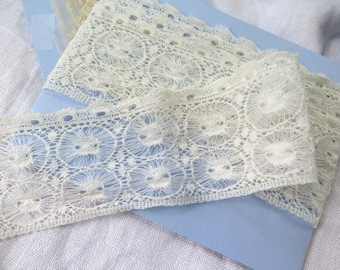 """Antique Lace Trim Double Spider Web Pattern with Ribbon Insertion 51"""" x 2-1/4"""" in Ivory Cotton"""