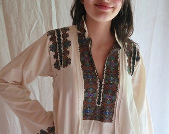 Antique Embroidered Shirt/Dress from Romania/Transylvania Region Circa 1920's Cotton Size Large Ethnic Clothing