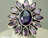 Amethyst Stones &  Sterling Silver Ring, Size 9.5, Statement Bezel Set Purple Gemstones,  Artsy Boho Stunning Finger Ring