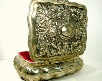 Heavy Metal Jewelry Box, Handsome Ornate Silver Hinged Table Stash, Heritage Mint Ltd Signed, 1980s