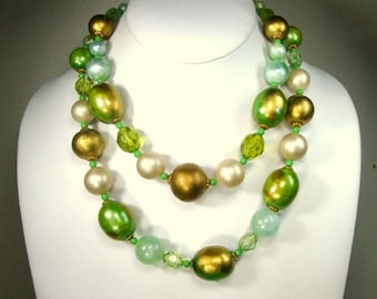 Mad Men Lime Green & Gold 2 Strand LARGE Bead Necklace, 1960s Hip MOD Resin, Big, Elegant Color,  and Fun, Adjustable Length,