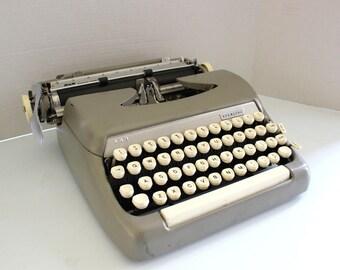 Vintage Smith Corona Grey Sterling Manual Typewriter w/ Case