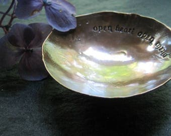 open heart open mind - warm copper offering bowl with small mat/pouch
