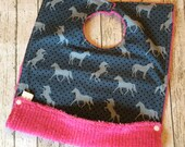 Cover-All Toddler Bib | Snap up Pocket | Horse Fabric