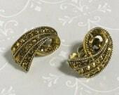 ON SALE - Bronze Marcasite Earrings - Clip Back Earrings