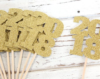 2018 Cupcake Toppers - Set of 12 - New Year's Eve, Graduation, glitter cupcake toppers