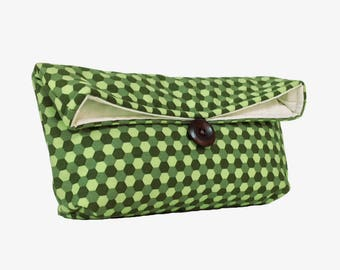 Bridesmaid Gift, Makeup Bag, Shades of Green Clutch Purse, Emerald Clutch, Geometric Honeycomb, Spring Fashion, Under 25