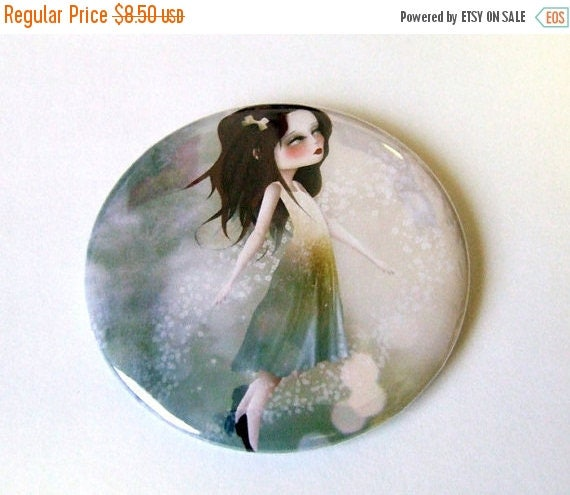 50% Off SALE Surrender Pocket Mirror with Organza Bag made from original art print by Jessica Grundy