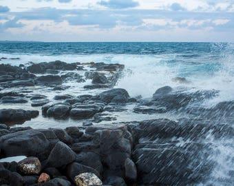 Hawaiian Fine Art Canvas wrap-  Evening Beach, Splash, Waves, Kauai, Hawaii- Lihue Ocean water