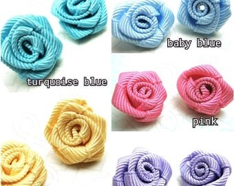 clearance sales / 50pieces (10Pc each color) - Handmade Ribbon Rose Buds for Crafts Making.