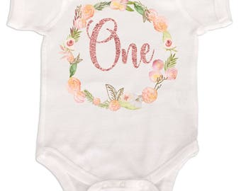 Baby Girls First Birthday Bodysuit 1st Birthday Outfit Pink and Gold Glitter Blush Pink Girls Birthday Shirt   Floral Number One Shirts