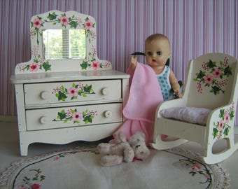 Vintage 1950s White Wooden Dresser w/ Hand Painted Pink Flowers -w/ FREE Matching Rocker! Play Scale