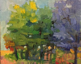 "Lou's Grove - Original Oil Encaustic Landscape Painting - 8""x 8"""