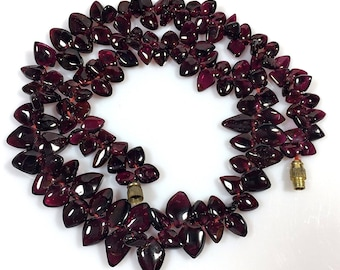"GARNET 17.5"" long Necklace Smooth Polished Briolette Drop Beads Dark Gothic Red 350ct weight January Birthstone"