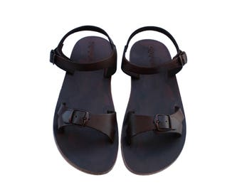 CLEARANCE SALE - Dark Brown Billa Leather Sandals - All Leather Sole  - Euro # 39 - Handmade Unisex Sandals, Genuine Leather, Sale
