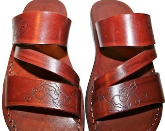 CLEARANCE SALE - Brown Decor Flip Leather Sandals for Men & Women - EURO # 41 - Handmade Unisex Sandals, Genuine Leather Sandals, Sale