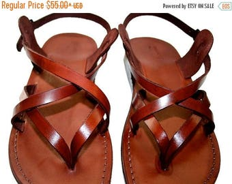 15% OFF Brown Mix Leather Sandals For Men & Women - Handmade Unisex Sandals, Flip Flop Sandals, Jesus Sandals, Genuine Leather Sandals