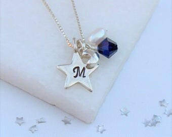 Moon Necklace Silver – Moon Jewellery – Moon Jewelry – Silver Initial Necklace – Personalised Necklace – Silver Necklace – New Job Gift