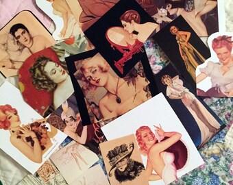 48 Vintage Scrapbook or Journal Kit Paper Ephemera Pieces and Sewing Supplies, Ladies Fashion, Vargas Pin Up Girls, Vogue Illustrations