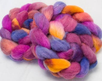 Hand painted combed top, Exmoor Blueface British wool,hand dyed roving, British rare breed,  hand dyed roving, fibre