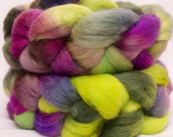 Corriedale, hand painted fibre, spinning wool, Handspinning, hand dyed roving, spindling, felting materials, combed tops, Pansy