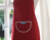 SALE Dotty Spotty Red - Cream Edged, Red with White Spot Print Apron. Womens/Mens Full Apron