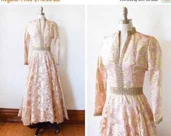 20% OFF SALE 60s metallic brocade dress, vintage 1960s floral  gown, pink and gold lurex party dress, pink metallic gold rhinestone maxi dre