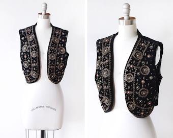 vintage beaded velvet vest, 60s black velvet vest, cropped vest, extra small xs small s