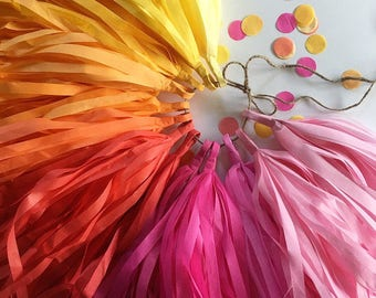 MARIGOLDS tassel garland first 30th birthday party cake table baby bridal shower yellow red hot pink decorations fiesta sunset fringe banner