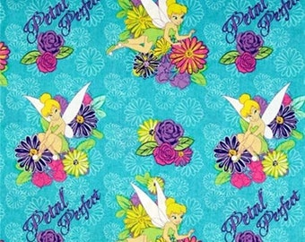 "Petal Perfect Tinkerbell ~ Disney Tinker Bell one yard of fabric 100% cotton by the yard 44"" - 45"" wide"