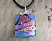 Pink Sunset on the Mountain Dichroic Glass Pendant