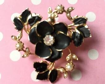 Vintage Enamel Flowers with Rhinestones PIn Brooch