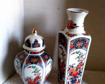 SALE Japanese Ginger Jar and matching Vase Floral Design blue orange gold green