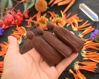 """Chocolate Brown, 3.5"""" Luxe Cotton Tassels with Braided Loop, 2 pcs / Large Handmade Cotton Tassel, Jewelry Making, Adornments, Decoration"""